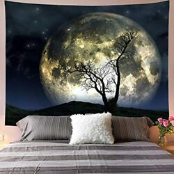 Cool Tapestry Wall Hanging for Bedroom Extra Large Moon Bright Lunar Night Dorm $44.99