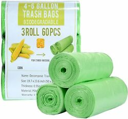 4 Gallon Small Trash Bags Biodegradable 60 Count Compostable Trash Bags with St $9.79