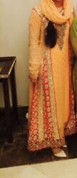 pakistani fancy maxi dress peach 3 piece full work front and back gold details $64.99