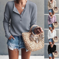 Women Button V Neck Long Sleeve T Shirt Casual Solid Blouse Warmer Loose Fit Top $15.93
