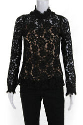 WAYF Womens Berklin Lace Long Sleeve Top Black Size Extra Small $40.24