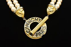 Givenchy Vintage Statement Collar Necklace Toggle Logo Pearl Chunky Runway Bin1 $254.99