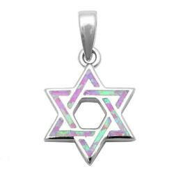 Pink Opal Star Of David .925 Sterling Silver Pendant $26.65