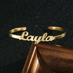 Womens Mens Personalized Custom Name Bracelet Cuff Bangle Stainless Steel Gifts $8.71