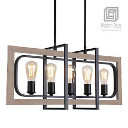 Rectangle Dining Room 5 Light Chandeliers Vintage Industrial Pendant Lighting $154.43
