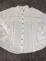 Womens Free People Blouse Size Small Cream Button Up Boho Style NEW $24.99