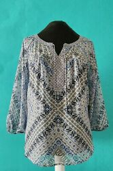 Fig and Flower Womens Shirt Popover 3 4 Sleeve Sheer Blue Tie Neck Lace Boho XL $15.00