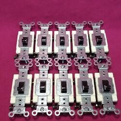 10 Leviton Commercial Grade Brown Quiet Toggle Light Switches CS120 2