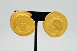 True Vintage Earrings Statement Clip On Chunky Brushed Gold 3D Big Swirl 80s 9C $20.62