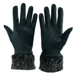 Women#x27;s Real Genuine Lambskin Leather Gloves With Fur Ladies Warm Winter Driving $11.99