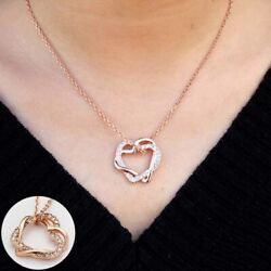 Necklace With Crystal Pendant Rose Gold Women#x27;s Heart 18K New $3.77