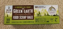 3 Gallon Capacity Green Compost Bags Eco Friendly Biodegradable 100 Bags $18.99