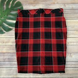Torrid Plaid Pencil Skirt Plus Size 2x Red Black Stretch Pull On Fitted $25.99