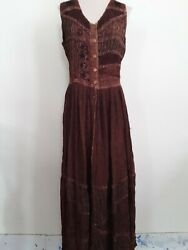 Brown Long BOHO HIPPIE Sleeveless Dress Embroidery India $24.95