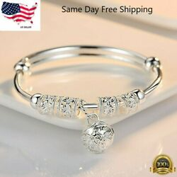 Fashion Women Jewelry 925 Sterling Silver Plated Cuff Bracelet Charm Bangle Gift