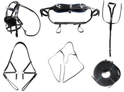 Miniature Horse Leather Driving Harness Set Size Big Baba Black Color $149.99