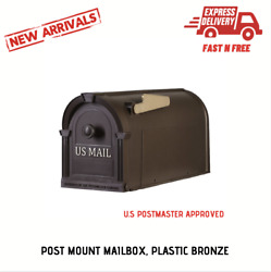 Post Mount Mailbox Large Steel Heavy Duty Storage Postal Mail Box Bronze No Rust $22.79