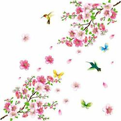 Creative Removable DIY Pink Peach blossom Wall Stickers Flowers Peach Blossom $23.19