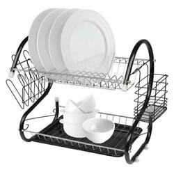 Durable 2 Tier Kitchen Dish Cup Drying Rack Holder Sink Drainer Storage Rack New $15.29