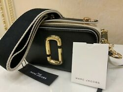 MARC JACOBS Snapshot Small Camera Bag Black White Crossbody 100% Authentic New $229.00