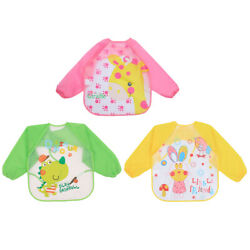 3Pcs Baby Waterproof Long Sleeve Aprons Children Breathable Eating Aprons Baby $8.52