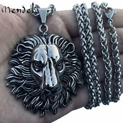 MENDEL Mens Heavy Stainless Steel Large Lion Head 30 Inch Pendant Necklace Chain $12.99