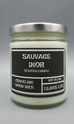 Wood wick * SAUVAGE DIOR FOR MEN TYPE * scented * Leah#x27;s Lite Candle Co $17.99