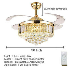 ❤ Crystal Lighting 36quot; LED Gold Invisable Ceiling Fan Lamp Remote Chandeliers US $132.99