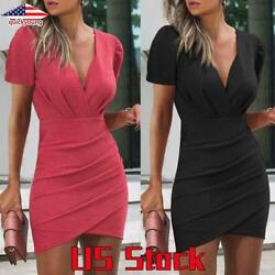 Women V Neck Bodycon Mini Dress Ladies Short Sleeve Party Cocktail Dresses Gown $20.13
