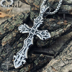 MENDEL Mens Big Large Stainless Steel Gothic Cross Pendant Necklace For Men Boys