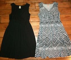 Black white Sleeveless geometric Summer Sun Dresses Size 1X XL 16W Faded Glory $29.75
