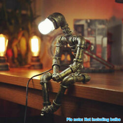 Robot Water Pipe Desk Light Steampunk Table Lamp Vintage Home Decor Industrial $40.89