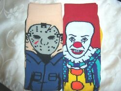 2 pair MENS ladies plus socks HORROR MOVIE JASON Friday 13th PENNYWISE IT $14.99