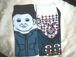 2 pair MENS ladies plus socks HORROR MOVIE MICHAEL MYERS Pinhead HELLRAISER $14.99