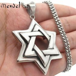 MENDEL Large Mens Stainless Steel Jewish 6 Point Star of David Pendant Necklace $11.99
