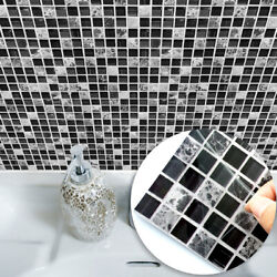 10pc 3D Mosaic Tile Stickers Self Adhesive Kitchen Waterproof PVC Wall Stickers $12.99