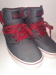 Vans Off The Wall Boys Youth 4 4.5 Gray Canvas Red Lace Hightop Shoes Sneakers $19.99