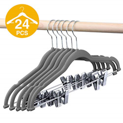 HOUSE DAY Velvet Skirt Hangers Pack of 24 Velvet Hangers with Clips Ultra $31.88