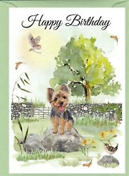Yorkshire Terrier Dog 4quot;x 6quot; Birthday Card with blank inside by Starprint GBP 2.20