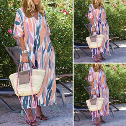 ZANZEA Womens Geometric Flare Sleeve Summer Swing A Line V Neck Plus Dresses New $21.42
