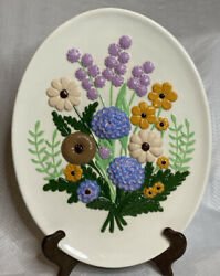 Vintage wall hanging Atlantic Mould ceramic floral 1970s 3 dimensional. $21.00