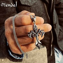 MENDEL Stainless Steel Mens Gothic Alchemy Fire Cross Pendant Necklace For Men