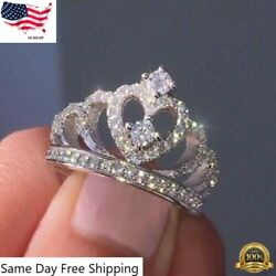 Women Crown Jewelry 925 Silver Rings White Sapphire Wedding Ring Size 6 10