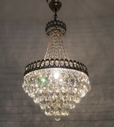 Antique Vintage Brass amp; Crystals French Chandelier Lighting Ceiling Lamp Light GBP 250.00
