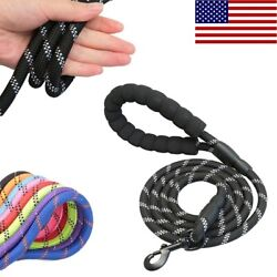 5FT Large Pet Dog Leash Rope Heavy Duty Reflective Nylon Leads with Comfy Handle $10.99