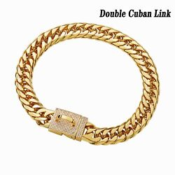 16MM Dog Chain 18K Gold Collar with Bling Design Secure Buckle Double Cuban Link $27.99