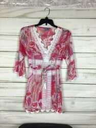 LETARTE PINTUCK EMBROIDERED CROCHET COVER DRESS M Pink amp; White $30.00
