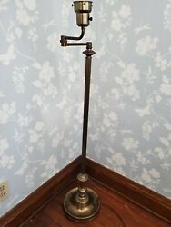 Antique floor lamp cast iron base brass $32.00
