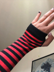Fashion Long Women Gloves Stretchy Knitting Striped Fingerless For Driving $9.99