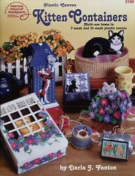 Kitten Containers Kitty Cat Boxes Decor Gifts plastic canvas pattern booklet $12.95
